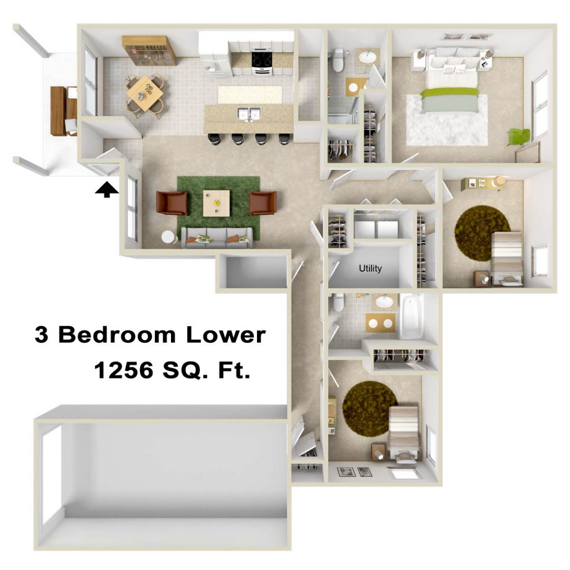 3 bedroom 2 bath apartment