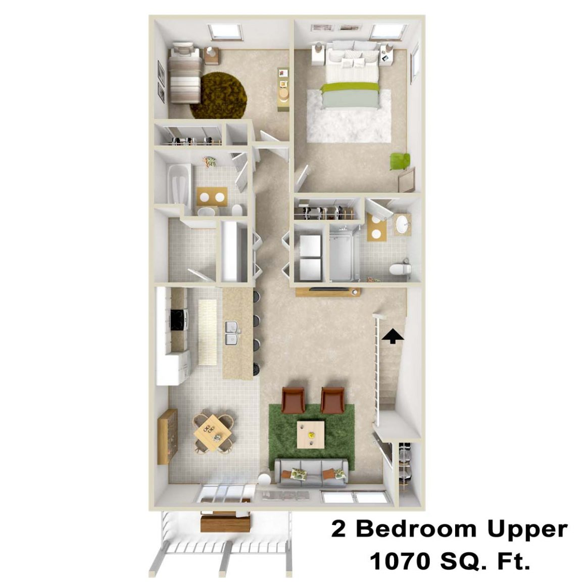 2 bedroom upper